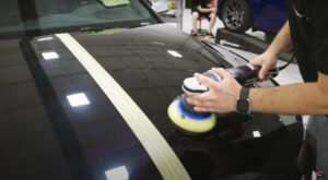 finishing a paint correction on a brand new vehicle